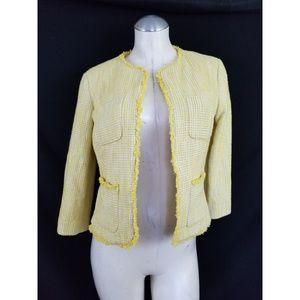 Talbots Size 6P Yellow Off White Blazer